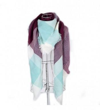 Women's Long Soft Plaid Scarf Winter Large Blanket Wrap Shawl 55 By 55 In - Purple - CG187DNC37X