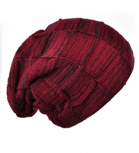 Joyingtwo Winter Warm Hat Thick Soft Knit Wool Fleece Slouchy Beanie Skully Cap For Men Women - Wine Red - CN187XYQYYZ