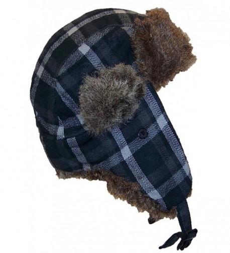 Angela & William Adult Plaid Russian/Trapper Winter Hat w/Soft Faux Fur(One Size) - Black/Gray - CS11OV75FSH