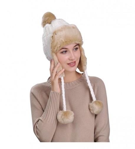 Highpot Warm Women Knit Peruvian Beanie Wool Hat Winter Ski Cap with Ear Flaps - White - CG187Q6AOU7