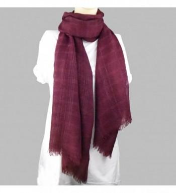 Scarves Silver Strips Tassels Burgandy in Fashion Scarves