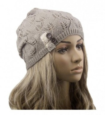 HANYI Leaves Hollow Out Knitting Hat - Gray - CJ12MAV0U9F