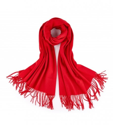 RIONA Women's 100% Merino Virgin Wool Large Scarf - Soft Warm Solid Cashmere Feel Poncho Cape - 17003_red - CV188IS98X4