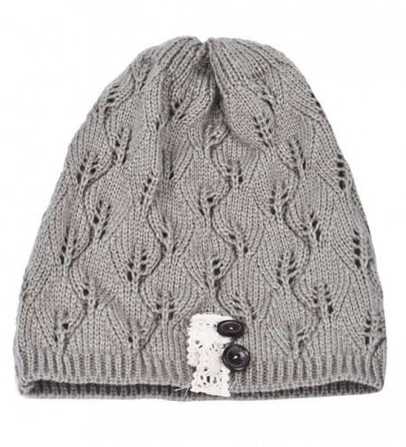 HANYI Leaves Hollow Knitting Gray in Women's Skullies & Beanies