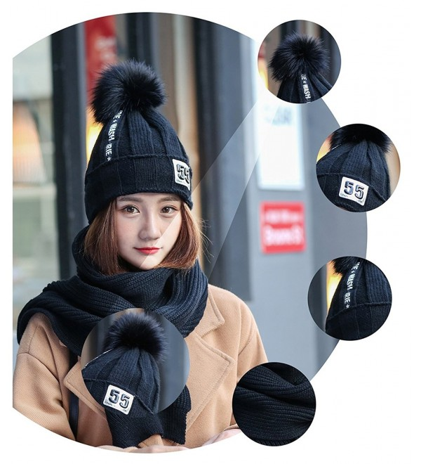 Women Winter Warm Scarf and Hat Lady Knitted Thick Scarves - Black - CE187NSCTWL