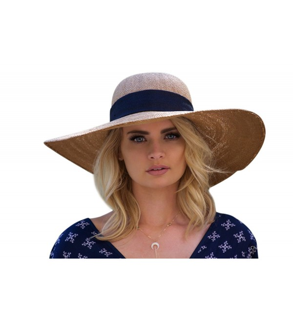 UPF 50+ Floppy Sun Hat w/Large Bow- Adjustable Size Large Beach Hat - Natural/ Black - CP182H7UT7U