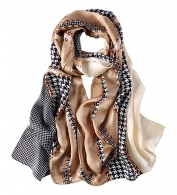 Long Fashion Silk Scarf Floral and Graphic Print - Brown Swallow Grid - C6184YTMKLQ