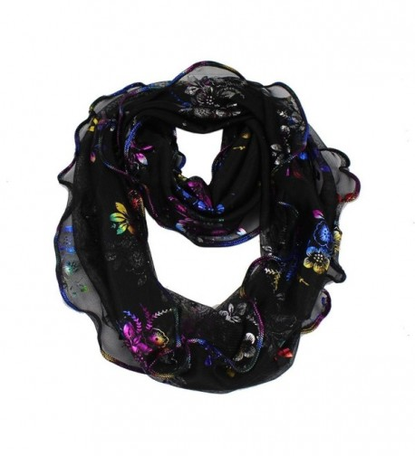 Women's Golden Glitter Rainbow Flowers Print Infinity Loop Cowl Casual Ladies Scarf - Black - C911AUQW8NH