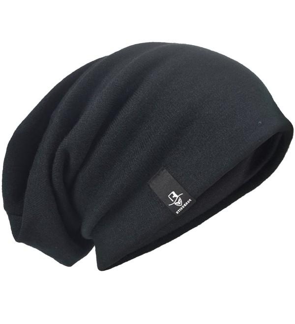 HISSHE Men's Slouch Slouchy Beanie Oversize Summer Winter Skull Cap N010 - Black - CZ18326EMKW