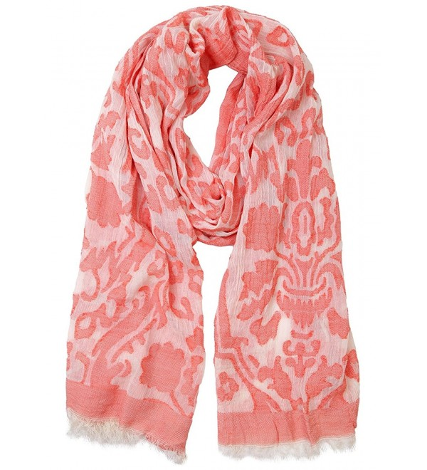 Funky Junque's Women's Spring/Summer Floral Damask Frayed Fringe Edge Scarf - Coral - C412DUC9SYP