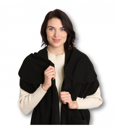 Pembrook Polar Fleece Shawl Wrap Pashmina Scarf - Fringe Trim and Embroidery - Black - C411N1BYU0N