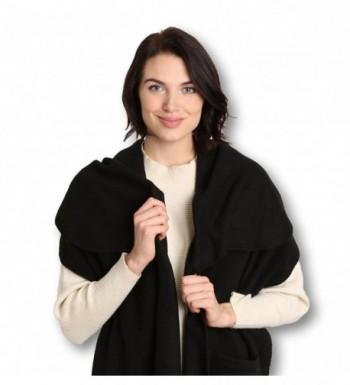 Pembrook Polar Fleece Shawl Wrap Pashmina Scarf - Fringe Trim and Embroidery - Black - C411N1BYU0N