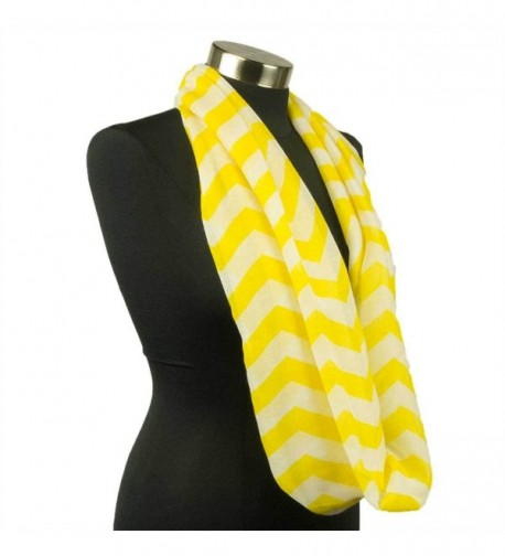 Adorox Pattern Print Fashion Chevron Sheer Infinity Circle Neck Scarf Warm Winter Light Weight - Yellow - CE11QLV1A7Z