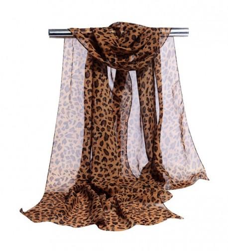 GERINLY Chiffon Scarves Animal Print Leopard Neck Wrap Sheer Scarf - Brown - CS17YDOG6SL