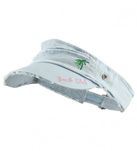 Beach Club Frayed Visor - Blue - C8112B7CWT9