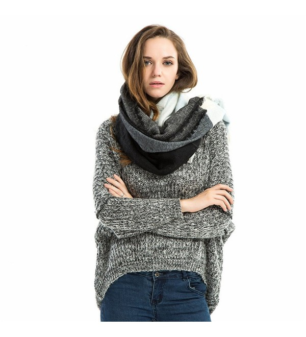 RACHAPE Women Stylish Warm Blanket Scarf Gorgeous Wrap Shawl Cozy - Black Blue - CW12N6GTA8W