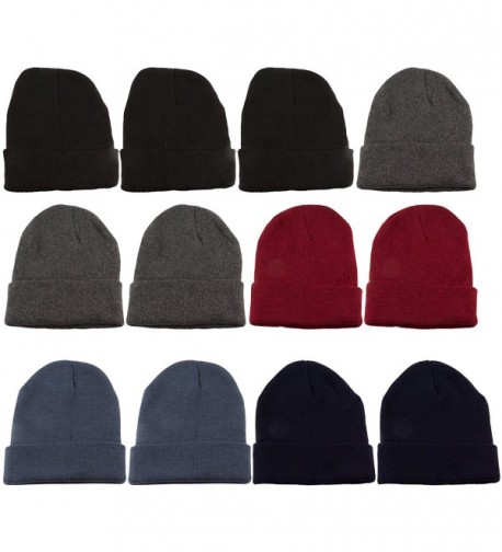 excell 12 Units Mens Womens Warm Winter Hats In Assorted Colors- Mens Womens Unisex - Assorted Solids (B) - CK11NSBO9BB