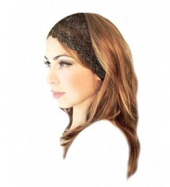 ShariRose Stunning Stretch Wide Floral Lace Head-Bands In Many Beautiful Colors Handmade - Black Gold - CK186KKUTLW