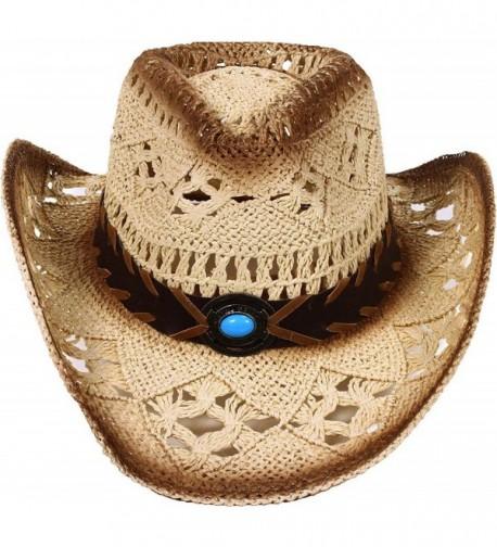 Women / Men's Summer Classic Western Cowboy Straw Hat - Beige - CU12O5XY5KX