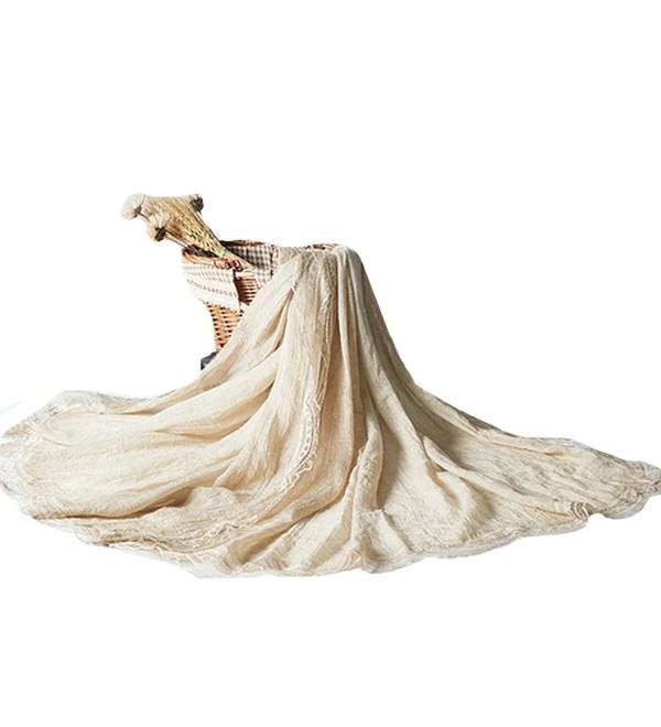 7b16161e966 Women Retro Pleated Lace Cotton Linen Scarf Autumn Winter Warm Scarves  Wraps Shawls Beige CQ186GNAOUA