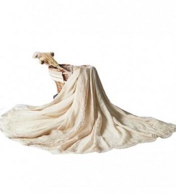 Monique Women Retro Pleated Lace Cotton Linen Scarf Autumn Winter Warm Scarves Wraps Shawls - Beige - CQ186GNAOUA