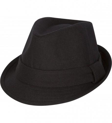 Sakkas Original Unisex Structured Wool Fedora Hat - Black - C41177TL265