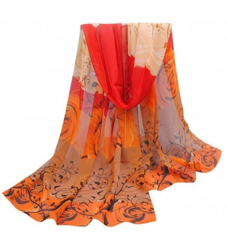 Women Rose Pattern Chiffon Elegant Scarves Vovotrade - Orange - CX128N6CWA9
