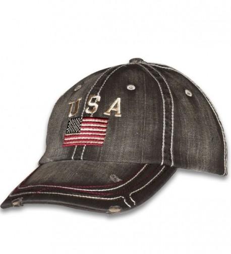 USA American Flag Distressed Vintage Patriotic Cap - Black - C21873UOWRY