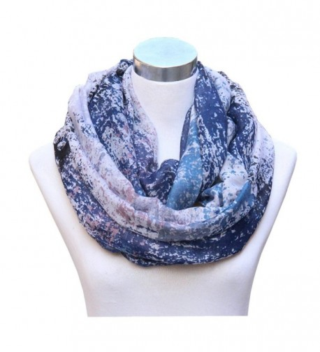 Lucky Leaf Women Lightweight Cozy Infinity Loop Scarf with Various Artist Print - Floral Blue - CQ17XQ6CT0C