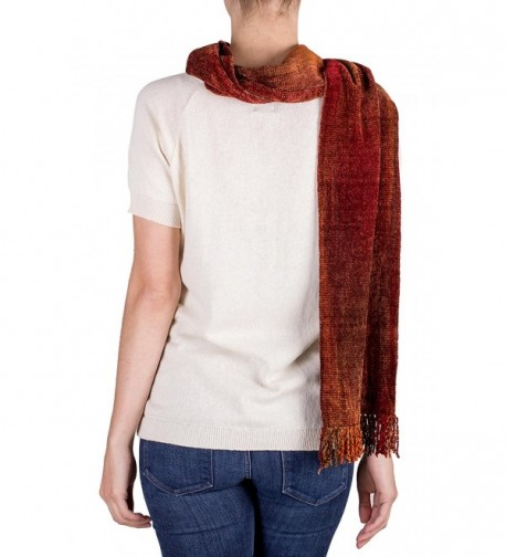 NOVICA Orange Rayon Chenille Dreamer in Cold Weather Scarves & Wraps