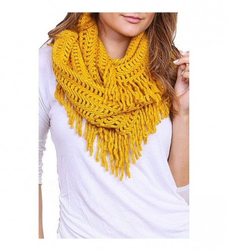 Women's Winter Warm Knit Infinity Scarf Tassels Soft Shawl - Mustard - CD12MXOX772