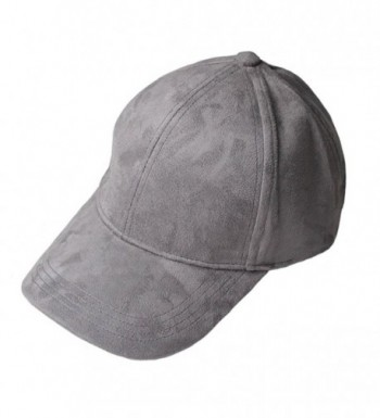VANCOL Soft Faux Leather Suede Hat Baseball Cap - Dark Grey - CU12NG6J2Q3