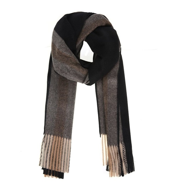 Xiuying Feng Classic Cozy Warm Cashmere Feel Neutral Vintage Irish Tartan Plaid Long Scarves Shawls - Black - CT189WAALQ7
