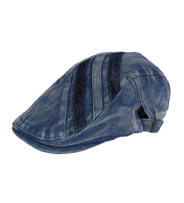 2e1170a001f5c Denim Newsboy Jean Gatsby Cap Ivy Irish Flat Cabbie Driver Golf Hat BXG -  Medium Blue