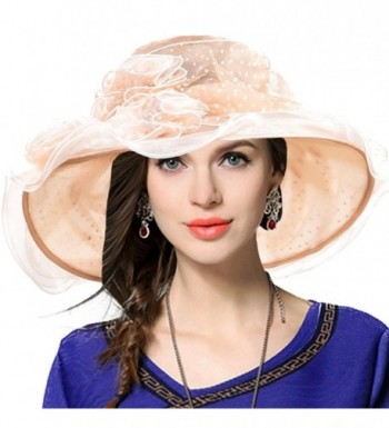 VECRY Women's Church Kentucky Derby Cap British Tea Party Wedding Hat - Dot-apricot - CS17YKYQOZ3