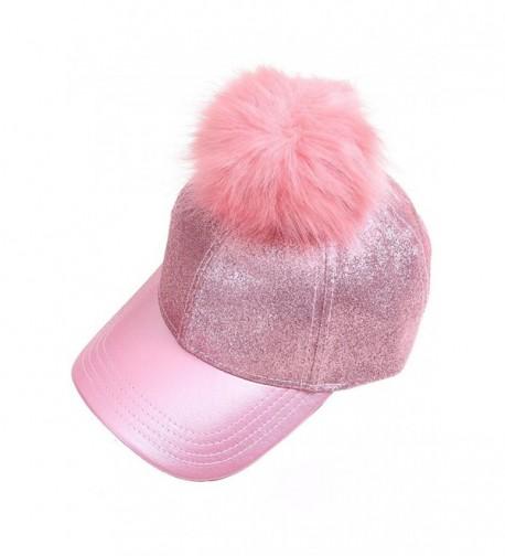 ScarvesMe CC Glitter Removable Fur Pom Pom Baseball Cap - Pink - CR12LHL359P
