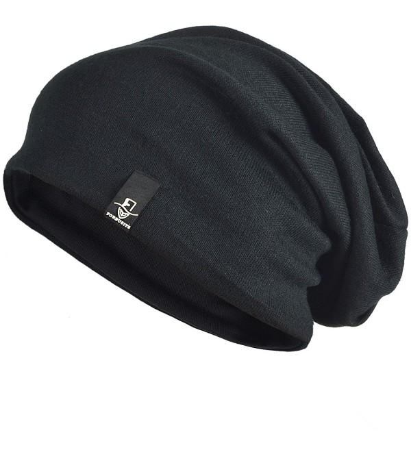 Jersey Slouch Beanie Basic Skull Cap Oversize - Black - CG11NP33XOL