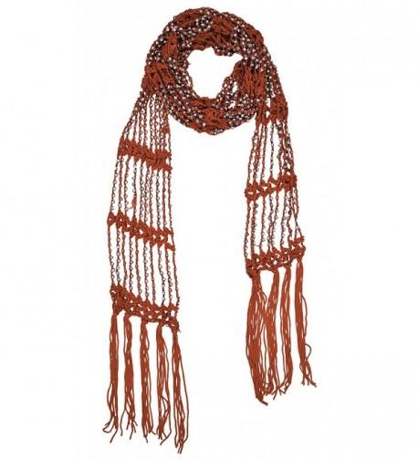 Mayskey Women's Beaded Scarf Beads Bling Infinity Scarf -Summer Belt -necklace - Orange - CN185IUNG3Z