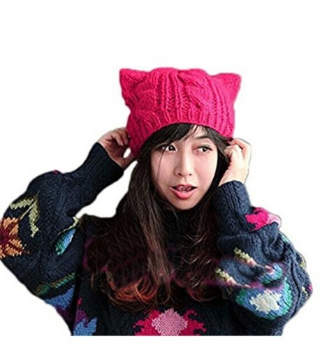 ALLDECOR Handmade Knitted Pussy Cat Ear Beanie Hat For Women's March Winter Warm Cap - Rose Red - CW189H443SK
