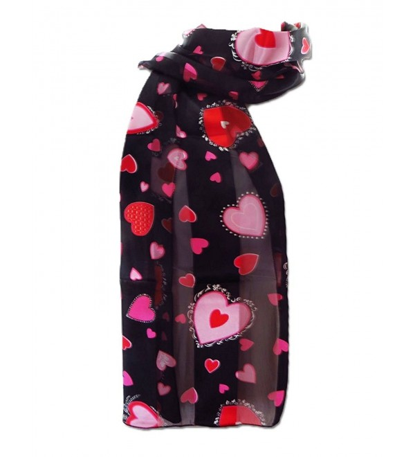 New Company Womens Cupid Valentines Day Hearts Scarf &ETH Black &ETH One Size - CJ11FWB5PYZ