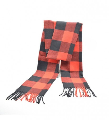 Winter Fashion Soft Cashmere Buffalo Check Print Scarf for Men Women - Red - CN1875KWQW5