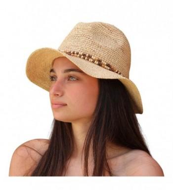 Palms & Sand Belize Women's Beaded Raffia Sun Hat (Natural) - CM12H526W5J