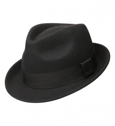 Sedancasesa Mens Felt Fedora Hat Unisex Classic Manhattan Indiana Jones Hats - A:black - CA12HGY47R1