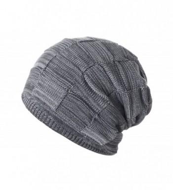 Yidarton Slouchy Beanie Hat Winter Warm Knit Thick Skull Cap - Gray - CN12MZW51RU