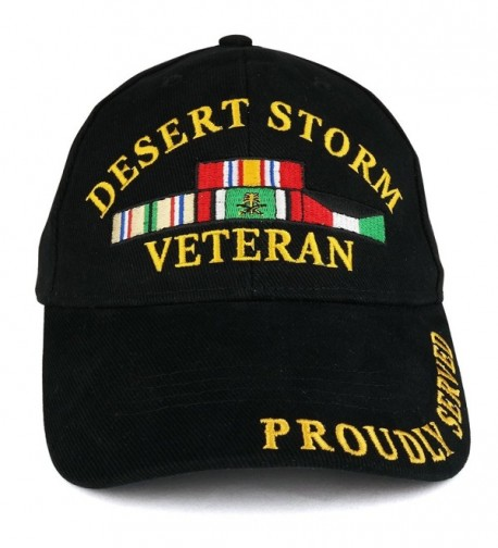 Armycrew Desert Storm War Veteran Ribbon Embroidered Structured Baseball Cap - Black - CT185GD8HS8