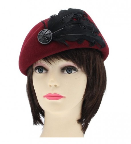 YueLian Solid Color Feather Women Petrine French Wool Beret Church Fedora Ski Beanie Hats Cap - Wine Red - CX125LC4HIT