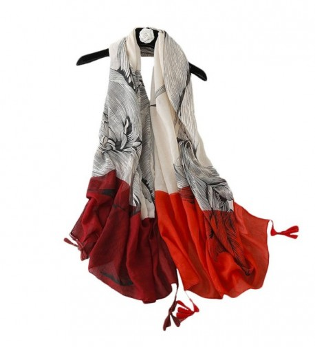 Women Infinity Scarves Lightweight Large Shawl---Gradient Color-Sun Protection - Twin Flower-red - C3184HNR0L5