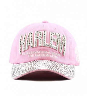 The Hat Depot 200H4320 Bling Studded Rhinestone Harlem Adjustable Baseball Cap-4colors - Pink - CW125F822O5