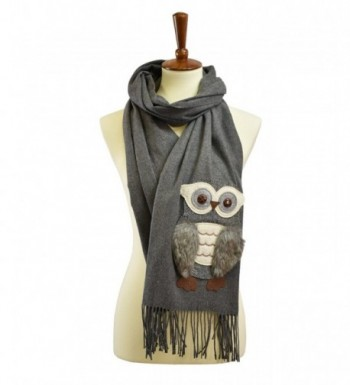 Cashmere feel owl patch fuax fur scarf - Charcoal - CK187NE7T7X
