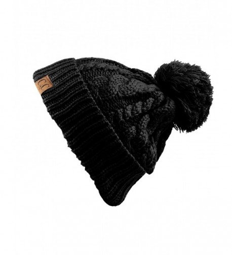 8c401890933 NYFASHION101 Cable Knit Winter Warm Top Soft Large Pom Pom Cuff Beanie Hat  - Black -